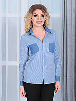 Рубашка синяя клетка комбинированная