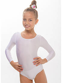 Купальник для танцев и гимнастики Белый длинный рукав из бифлекса (рост от 98см до 158см)