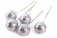 Шарики блестящие декоративные Beallara, диаметр: 25 мм, материал: пенопласт, цвет белый, ножка из проволоки, шарики для рукоделия