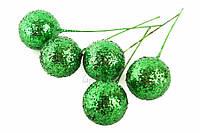 Шарики блестящие декоративные Cadia, диаметр: 25 мм, материал: пенопласт, цвет зеленый, ножка из проволоки, шарики для рукоделия