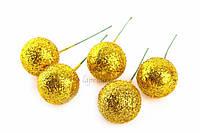 Шарики блестящие декоративные Agave, диаметр: 25 мм, материал: пенопласт, цвет желтый, ножка из проволоки, шарики для рукоделия