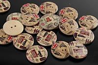 Пуговица декоративная Англия, 2 отверстия, круглая, материал: дерево, декор, пуговица для скрапбукинга, пуговицы для украшения