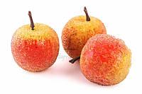 (Цена за 100шт) Яблоко в сахаре декоративное Abelia, пенопласт, форма круглая, желтое с красным бочком, пластиковое яблоко для декора, исскуственные