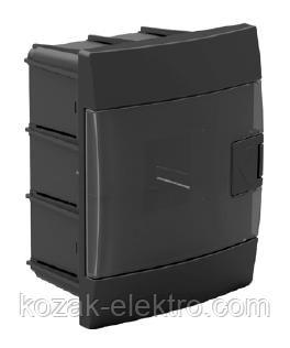 Щит (бокс) на 4 автомата встраиваемый черный