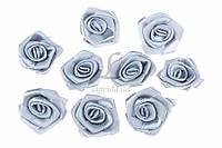 """(Цена за 200шт) Мини декор """"Розочка"""", материал ткань, бутон розочки, цвет синий, искусственные цветы, декор для рукоделия, розы"""