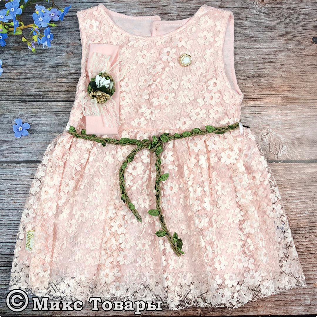 Платье+ повязка для новорождённых Размеры: 68 и 74 см (6203-1)