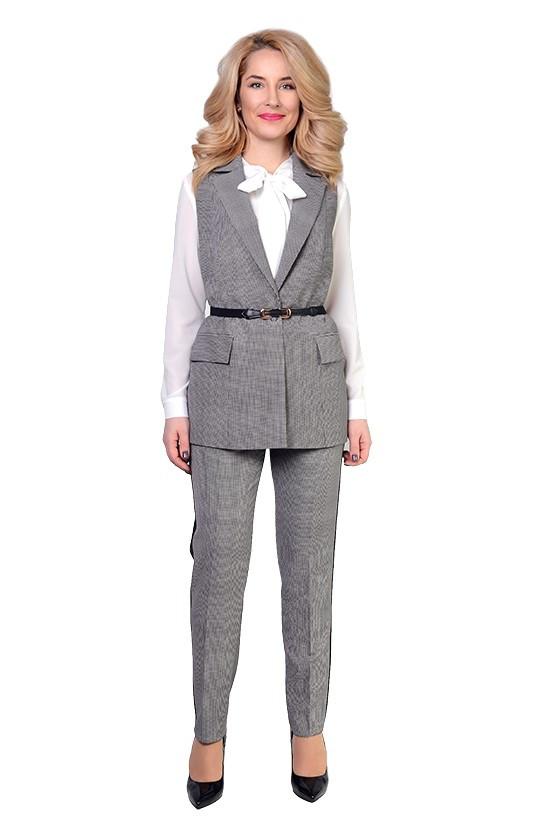 Деловой костюм с жилетом с 46 по 52 размер 7цветов