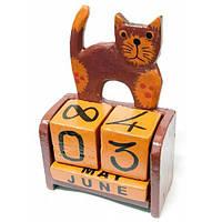 Деревянный календарь Кот коричневый