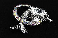 Брошь в виде дельфина декорированная стразами (под серебро), украшения для одежды, ювелирная бижутерия