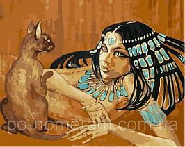 Картина по номерам VP424 Египтянка с кошкой 40х50