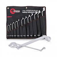 Набор накидных ключей 12 шт., 6-32 мм Cr-V, покрытие сатин-хром; PROF DIN3113 INTERTOOL XT-1203