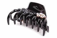 """Краб для волос """"Bidens"""" (черный) украшенный цветком в стразах и жемчужиной, пластик, краб для волос, заколка - крабик для волос, заколка пластиковая,"""