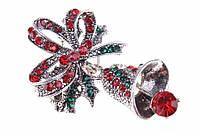Брошь в форме звоночка декорированная стразами (под серебро), украшения для одежды, ювелирная бижутерия