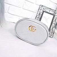 Женская сумка бананка Gu серебро 1029, сумка через плечо, фото 1