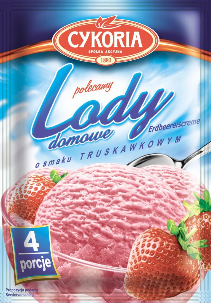 Lody domowe Cykoria порошок для приготування морозива з полуничним смаком 60 гр.
