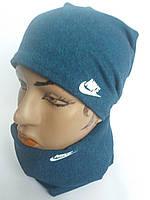 Трикотажний комплект шапка+хомут детский-подросток Nike м 436, разные цвета, фото 1