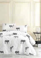 Покрывало стеганное с наволочками 200*220 Eponj Home B&W Zebra черно-белое
