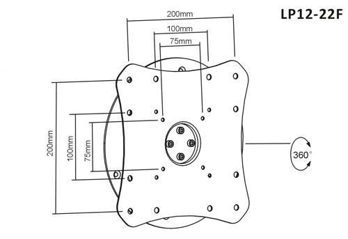 Крепление для телевизора настенное BRATECK LP12-22F BLACK, фото 2