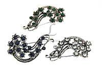 Брошь в форме волны (серебро) украшенная стразами, украшения для одежды, ювелирная бижутерия