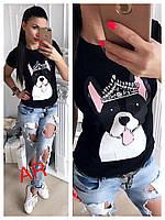 Стильная женская футболка с принтом 2 цвета