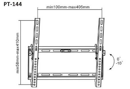 Крепление для телевизора настенное BRATECK PT-148 BLACK, фото 2