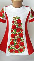 Модное вышитое платье для девочки с красными цветами. Размеры: 116-152