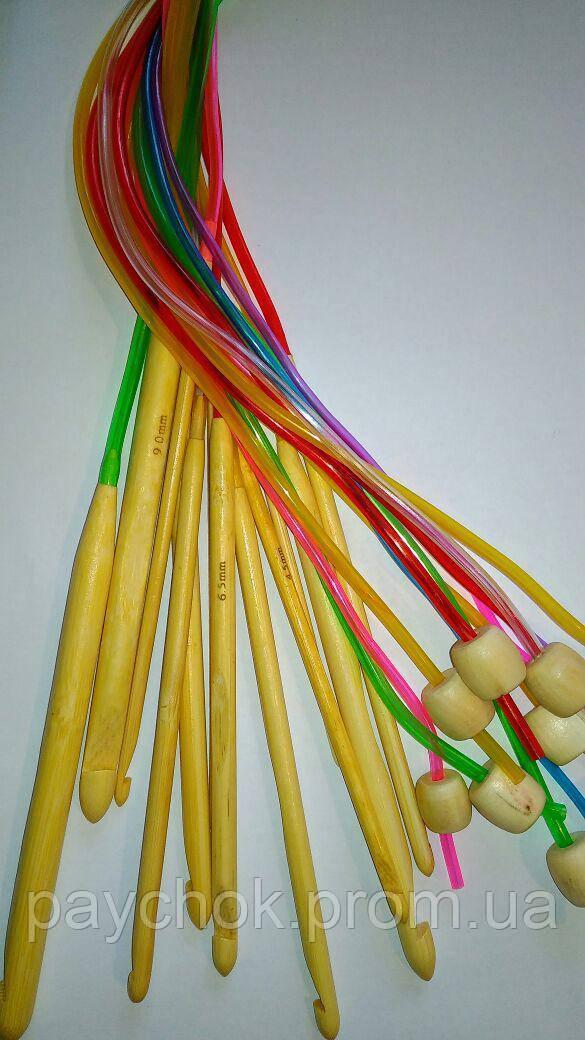 набор крючков для вязания из бамбука на силиконовой леске продажа