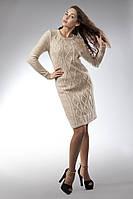 Классическое вязаное женское платье на подкладке