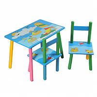 """Столик+2стульчика """"Кораблики"""", столик голубой, столик для мальчика,"""