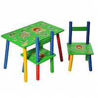 """Столик+2стульчика, """"Львенок"""", столик зелёный, столик для мальчика, столик для девочки"""