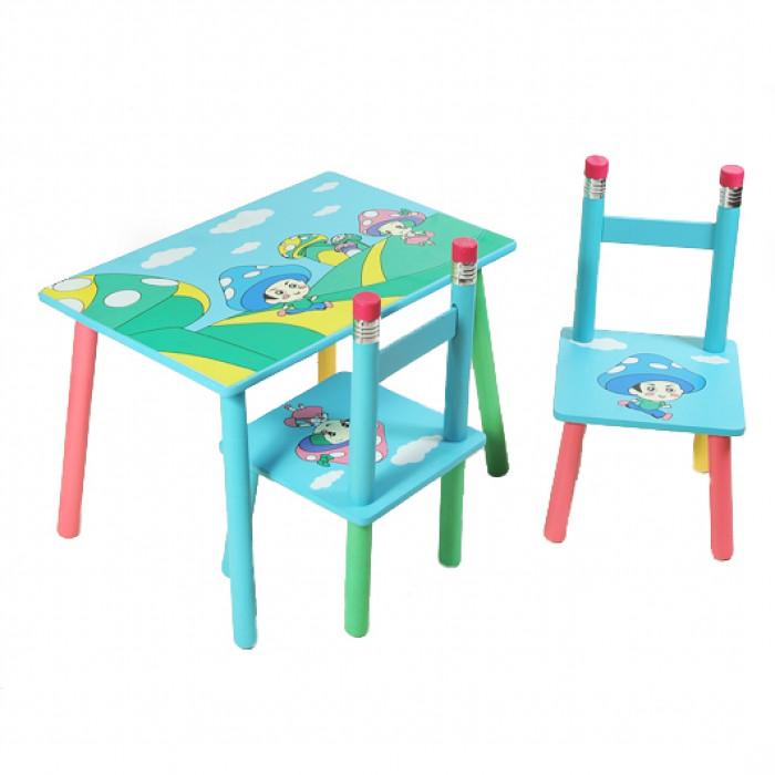 """Столик+2стульчика """"Гриб"""", столик цветной, столик для мальчика, столик голубой."""