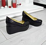 Комфортные женские туфли на платформе (черная кожа), фото 2