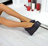 Комфортные женские туфли на платформе (черная кожа), фото 4