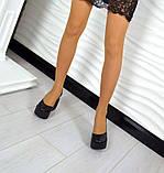 Комфортные женские туфли на платформе (черная кожа), фото 5