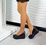 Комфортные женские туфли на платформе (черная кожа), фото 6