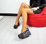 Комфортные женские туфли на платформе (черная кожа), фото 9