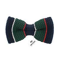 Bow Tie House Бабочка вязаная зеленая с синим в полосочку