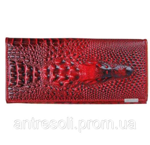 Кошелек женский бордовый Крокодил код 123