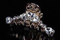 """Краб для волос """"Camellia"""" металлический (золото) украшенный стразами, заколка - крабик для волос, заколка металлическая, крабик металлический, заколка"""