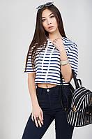 Стильная женская короткая свободная футболка топ в полоску и капюшоном