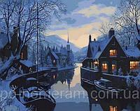 Картина по номерам (MR-Q1308) Зима в рыбацкой деревне