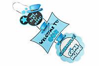 """Бумажная гирлянда """"Clubhouse"""" для праздничного декора, голубая, длина 75см, ширина 30см, картон, Праздничный декор, Гирлянда для праздника"""