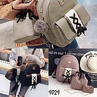 Рюкзак с сумкой-кисет, визитницей и брелком черный, розовый, серый