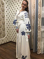 """Вишита сукня """"Магнолія"""" тканина льон білий"""