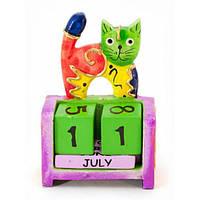 Календарь вечный из дерева Кот зеленый