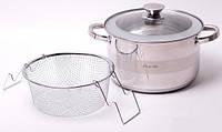Набор посуды 3 пр кастрюля из нержавейки и дуршлаг для макарон Kamille 4514S