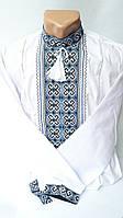 Мужская белая вышиванка с воротником-стойка и голубым орнаментом