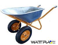 ⭐ Тачка строительная Forte WB6418-1S (вода/песок 110/200 л, 320 кг) двухколесная зеленая