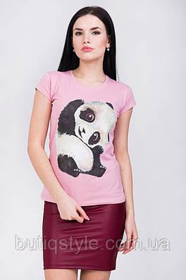 Стильная женская приталенная футболка с нежным принтом панда