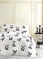 Покрывало стеганное с наволочками Eponj Home B&W Panda черно-белое 160*220